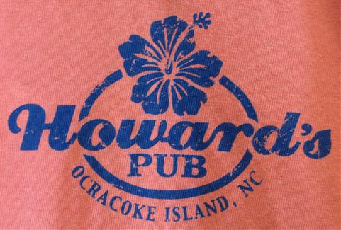 Howard's Pub ocracoke island, NC with flower t-shirt.