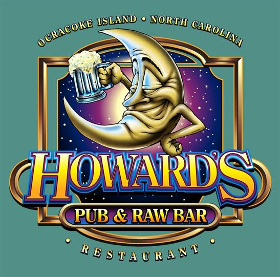 Howard's Pub & Raw Bar restaurant Ocracoke Island, NC man on the moon holding beer stein cartoon t-shirt.