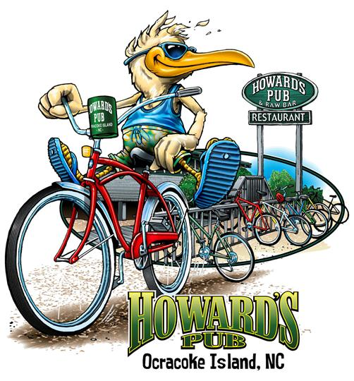 Howard's Pub Ocracoke Island, NC cartoon seagull riding bicycle t-shirt.