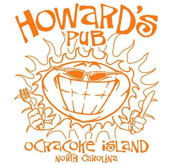 Howard's Pub Ocracoke Island, NC cartoon sun holding knife and fork t-shirt