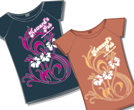 Howard's Pub Ocracoke Island, NC hawaiian flower design t-shirts