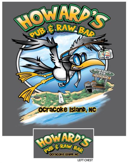 Howard's Pub Ocracoke Island, NC - cartoon drawing of seagull wearing aviator glasses t-shirt