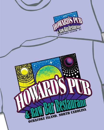 Howard's Pub & Raw Bar Restaurant. Ocracoke Island, NC. Moon and stars drawings t-shirt.
