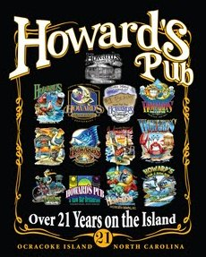 Howard's Pub Ocracoke Island, NC. Over 21 years on the island collage of logos.