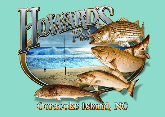 Howard's Pub Ocracoke Island, NC fishing on beach cartoon t-shirt