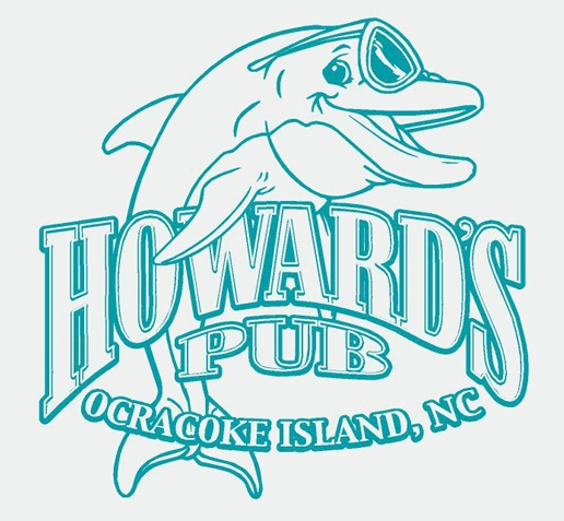 Howard's Pub Ocracoke Island, NC cartoon dolphin drawing t-shirt.