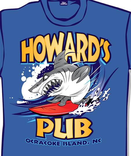 Howard's Pub Ocracoke Island, NC cartoon shark on surfboard t-shirt.