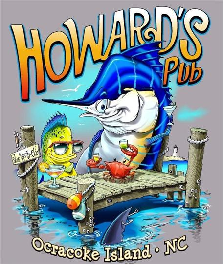 Howard's Pub Ocracoke Island, NC cartoon fishes on dock t-shirt