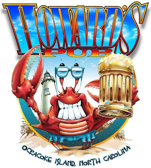 Howard's Pub Ocracoke Island, North Carolina cartoon lobster holding beer mug t-shirt.