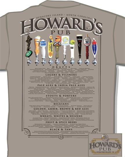 Howard's Pub beer tap t-shirt.