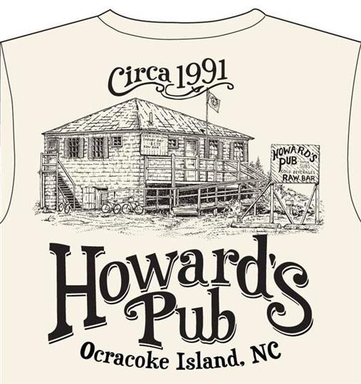 Howard's Pub Ocracoke Island, NC circa 1991 sketch of restaurant t-shirt.