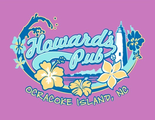 Howard's Pub Ocracoke Island, NC flowers and lighthouse on water drawing t-shirt.