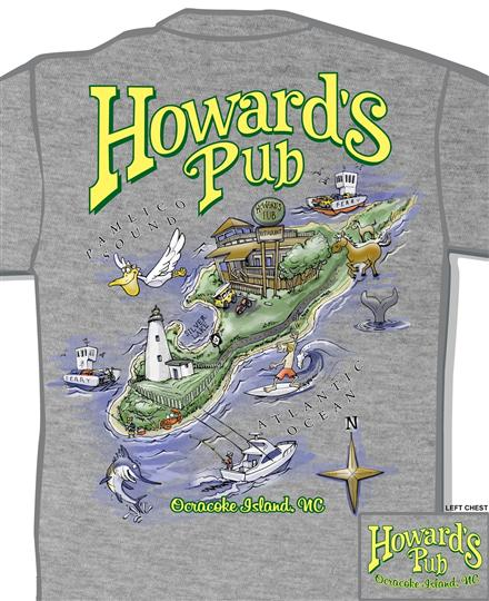 Howard's Pub Ocracoke Island, NC cartoon map t-shirt.