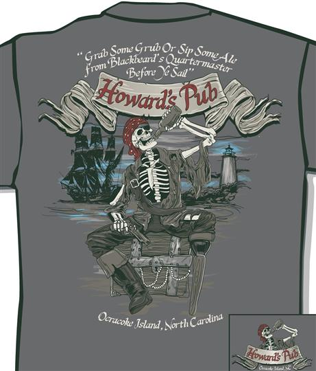 Howard's Pub - Grab some grub or sip some ale from Blackbeard's Quartermaster before ye sail t-shirt.