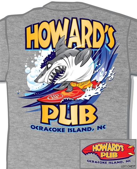 Howard's Pub Ocracoke Island, NC shark on surfboard t-shirt.
