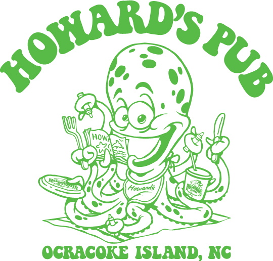 Howard's Pub Ocracoke Island, NC cartoon octopus t-shirt.