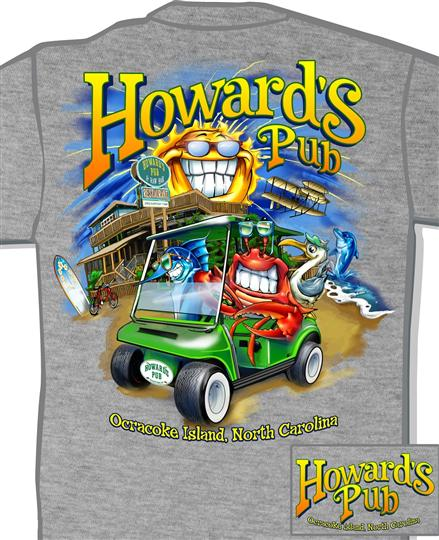 Howard's Pub ocracoke island, north carolina lobster in gofl cart cartoon t-shirt.