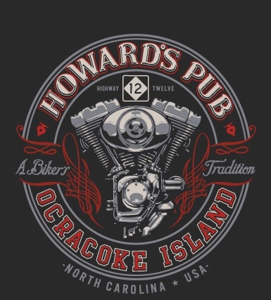 Howard's Pub Ocracoke Island, North Carolina, USA Highway 12 biker t-shirt.