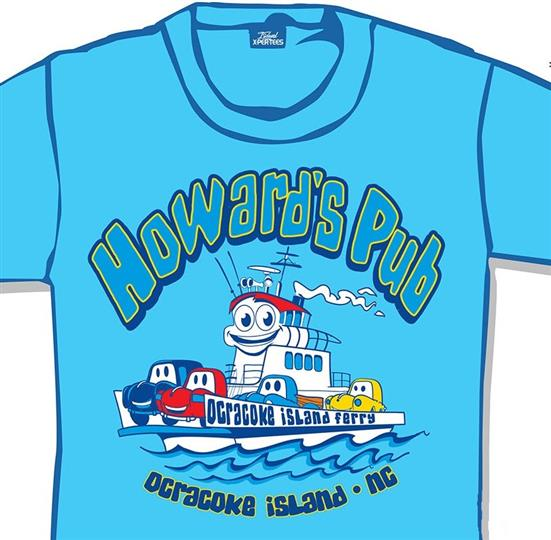 Howard's Pub Ocracoke Island, NC cars on ferry cartoon drawing t-shirt