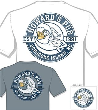Howard's Pub established 1991, ocracoke island, NC moon drinking beer cartoon t-shirt.