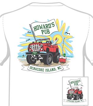 Howard's Pub ocracoke island, NC truck cartoon t-shirt.