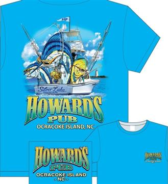 Howard's Pub, Ocracoke Island, NC fishing boat drawing t-shirt.