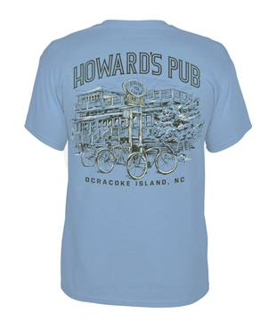 Howard's Pub Ocracoke Island, NC T-shirt. Bicycles in front of restaurant drawing.