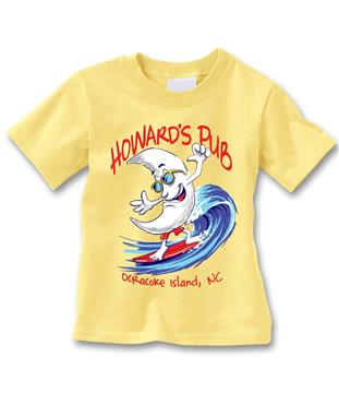 Howard's Pub Ocracoke Island, NC T-shirt. Man with moon face surfing cartoon.