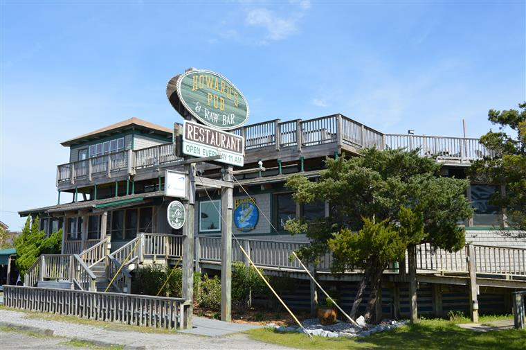 Howard's Pub exterior of restaurant showing multiple levels