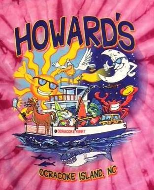 Howard's Pub Ocracoke Island, NC sun, lobster, moon on ferry boat cartoon t-shirt