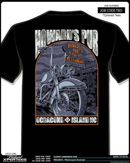 Howard's Pub Ocracoke Island, NC motorcycle t-shirt