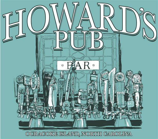 Howard's Pub Ocracoke Island, NC beer taps sketch t-shirt