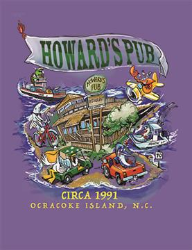 Howard's Pub Ocracoke Island, NC circa 1991 cartoon of restaurant t-shirt