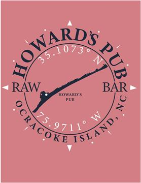 Howard's Pub Ocracoke Island, NC latitude and longitude coordinates t-shirt.
