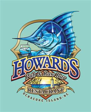 Howard's Pub & Raw Bar Restaurant, Ocracoke, NC marlin holding drink cartoon t-shirt.