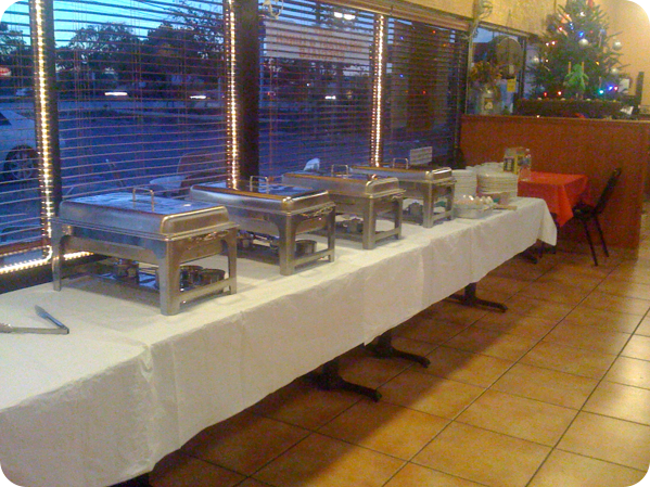 Catering sternos on long table
