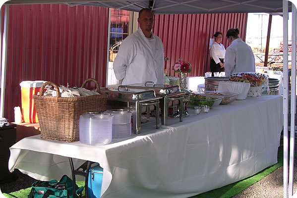 Caterer waiting to serve food