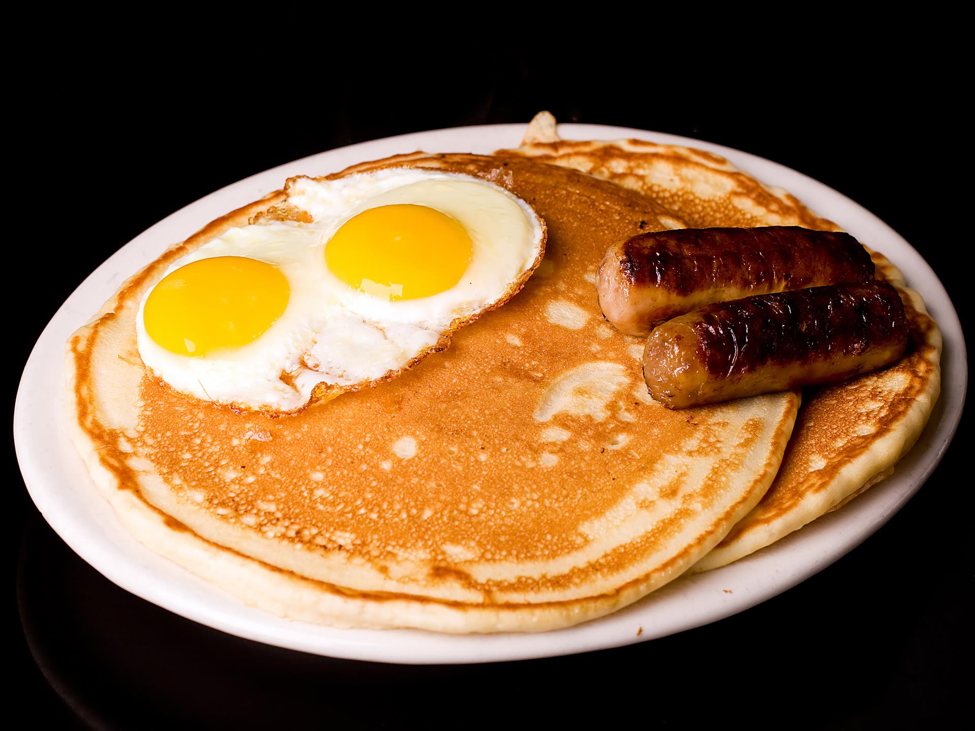 pancakes, eggs and sausage