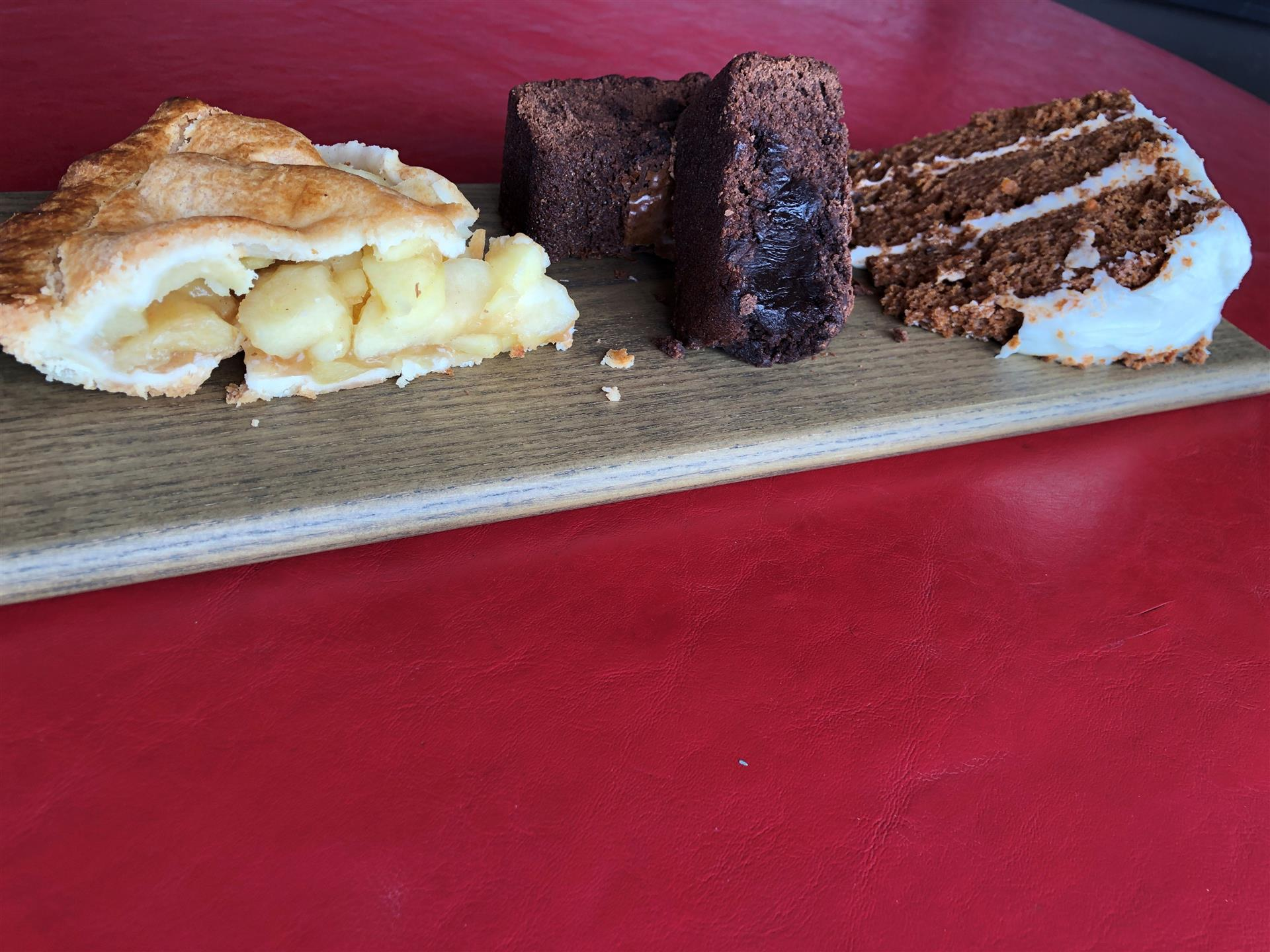 tray of desserts: apple pie, brownie and carrot cake