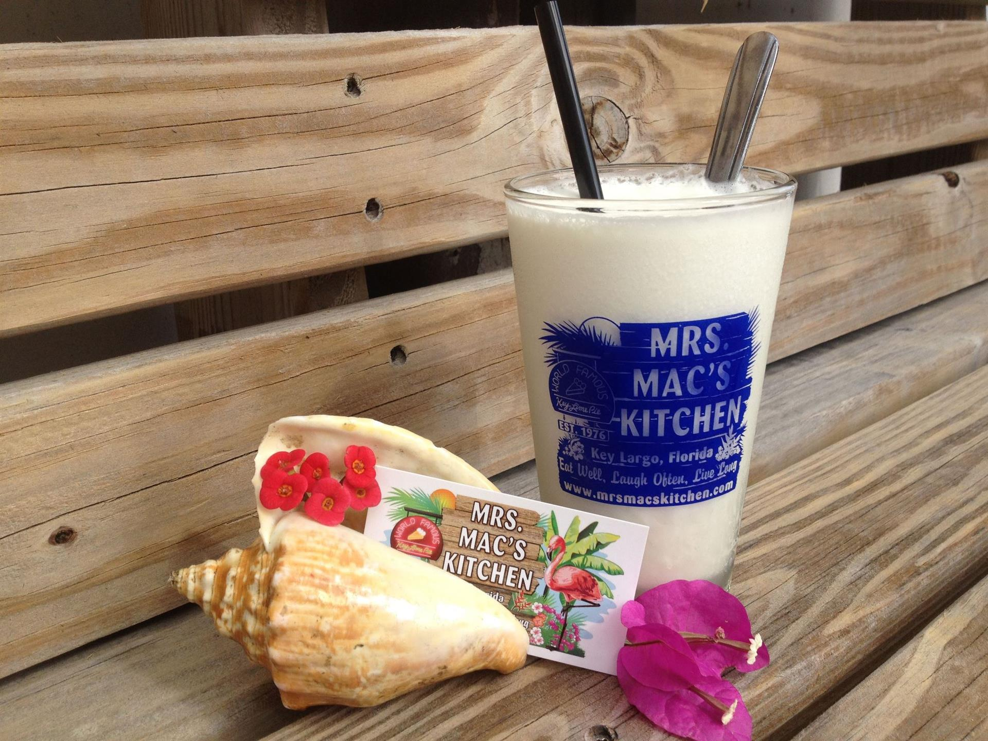milkshake in a mrs. mac's kitchen, shells, and a mrs. mac;s kitchen gift card