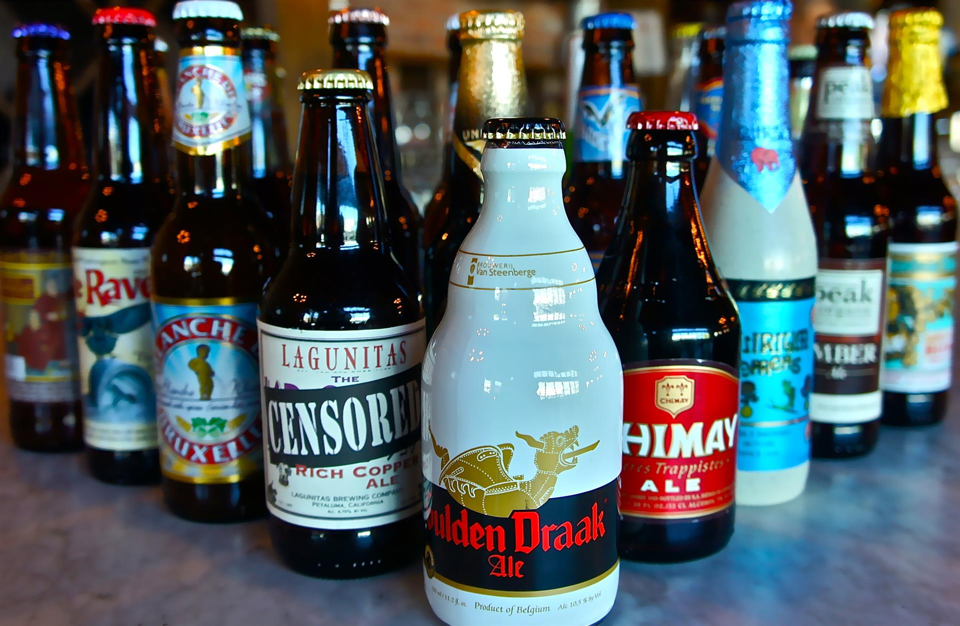 a wide variety of different bottled alcoholic beverages