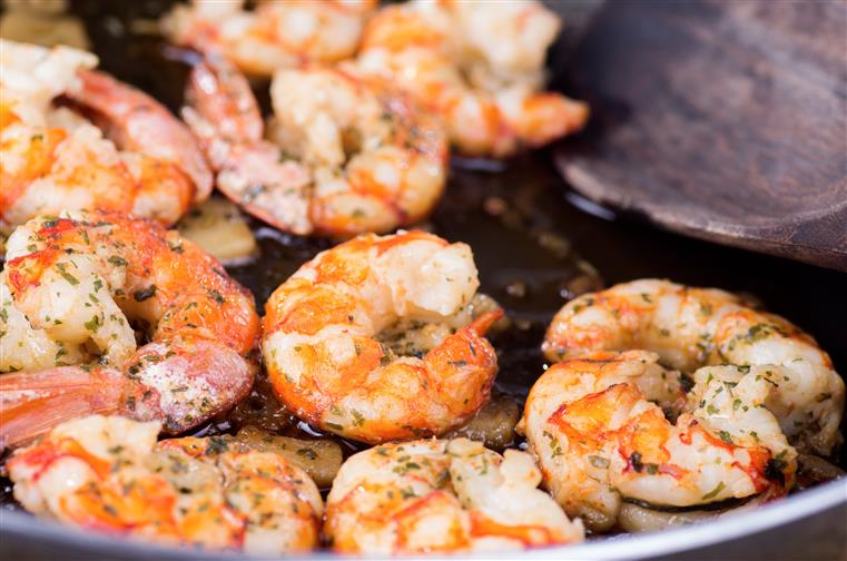 sauteed garlic shrimp in a pan