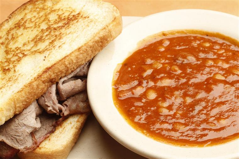 soup and a roast beef sandwich