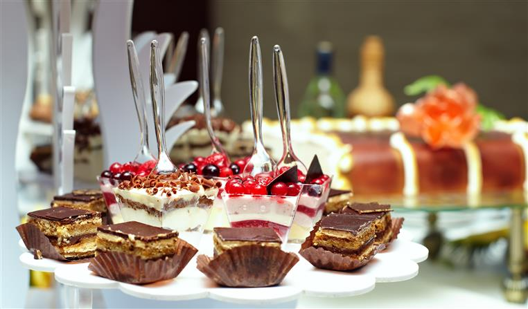 Variety of desserts on table