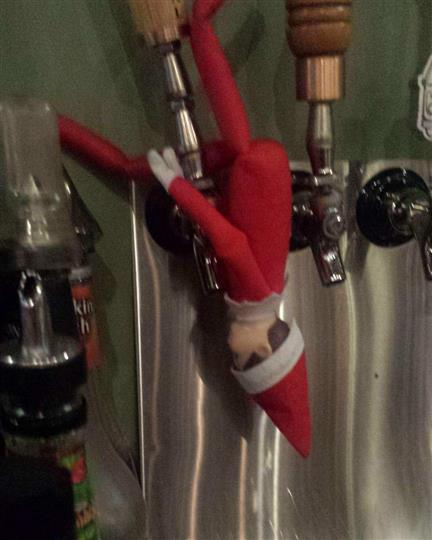 Christmas decoration of the beer taps
