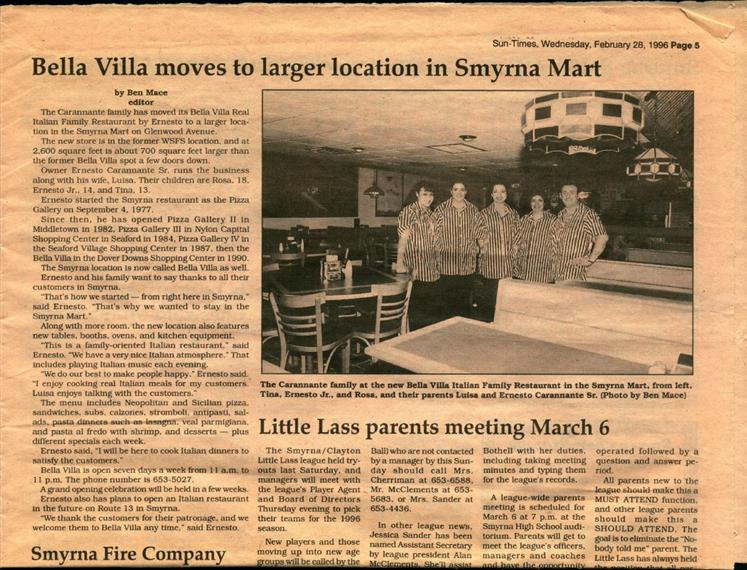 Newspaper article with heading Bella Villa moves to larger location in smyrna mart