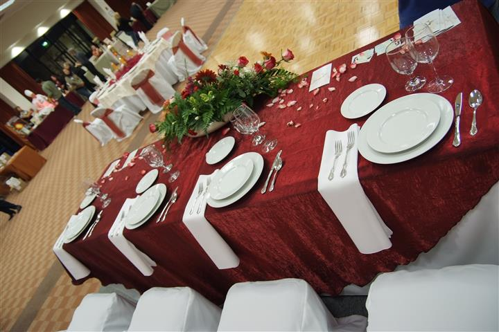 table settings with red accents