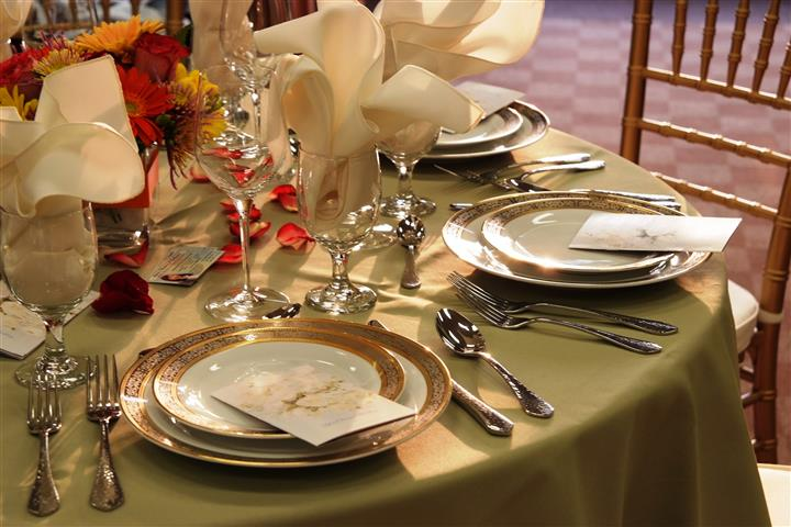 up close shot of the plate settings on a table