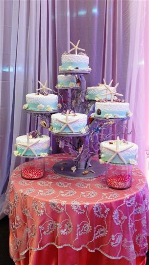 cake tower with sea inspired cakes