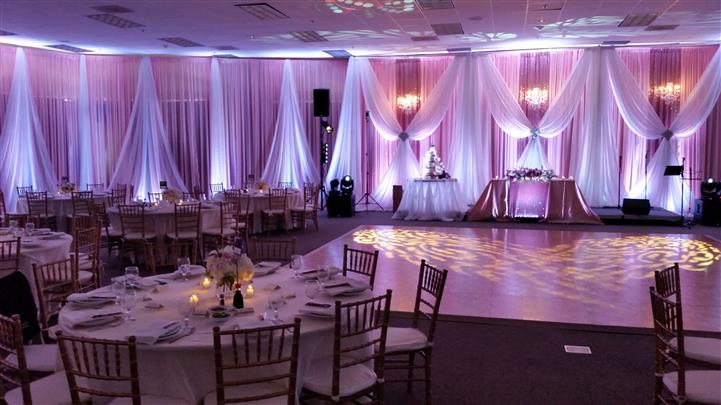 reception area with light pink lighting